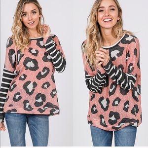 Tops - Mauve Leopard & Stripes top